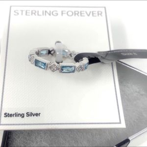 Silver And Blue Cubic Zirconia Band Ring Size 8